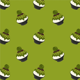 Matcha green tea bingsu cartoon pattern on green background