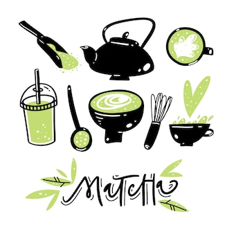 Matcha green tea hand drawn vector set.