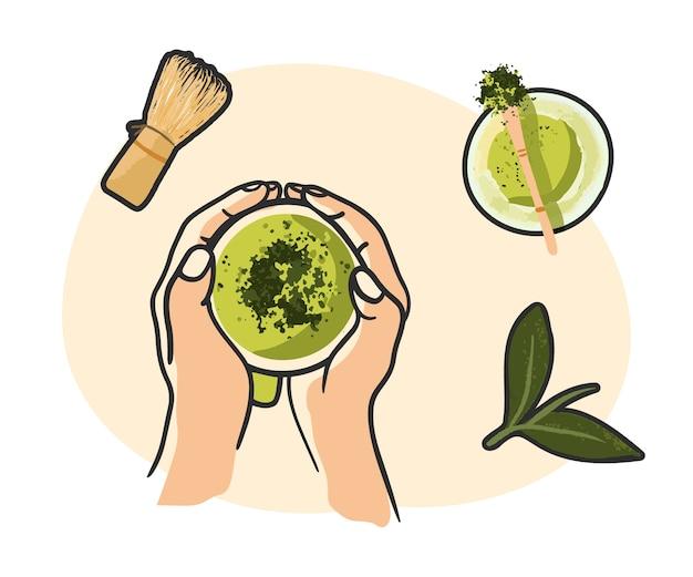 Зеленый чай матча, чаша порошка матча, деревянная ложка и венчик, лист зеленого чая, изолированные на белом фоне. вид сверху, плоская планировка