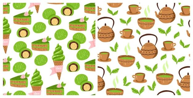 말차 녹차 패턴 세트입니다. 말차 가루, 그릇, 찻주전자, 컵케이크로 매끄러운 일본 문화 패턴 컬렉션입니다. 벡터 일러스트 레이 션. 직물, 포장용 음료 의식 인쇄.