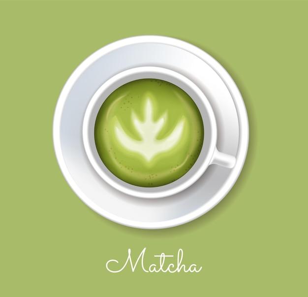 Реалистичный вектор порошка зеленого чая матча. размещение продукта макет дизайна этикеток для здоровых напитков