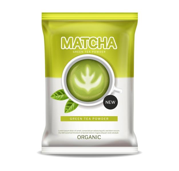 リアルな抹茶パウダーベクトル。プロダクトプレースメントは、健康的な飲み物のラベルデザインをモックアップします
