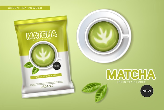 Matcha green tea powder vector realistic. product placement mock up healthy drink label designs