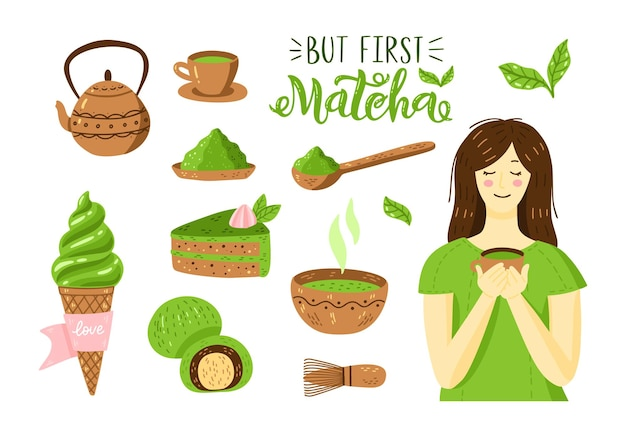 Matcha green tea vector set - matcha powder, latte, mochi, tea pot, bowl, bamboo spoon, whisk, leaves and girl with cup. asian japanese drink ceremony. vector illustration isolated on white background