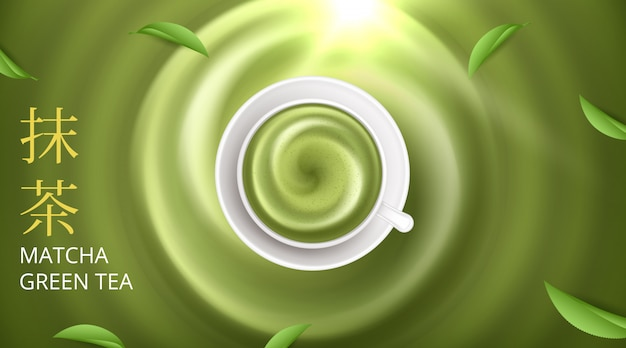 Matcha latte on a bright background.  illustration