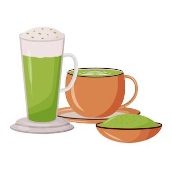 Матча латте иллюстрации шаржа. стеклянная высокая кружка. бамбуковая пудра на блюдце. меню кафетерия. зеленый чай в кружках плоский цветной объект. питательные травяные напитки, изолированные на белом фоне