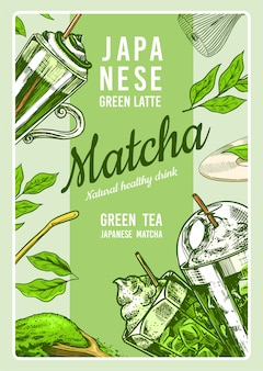 Matcha natural healthy drink poster