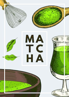 Matcha poster with green details