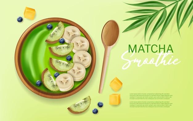 Реалистичный макет вектора чашки смузи матча. сверху банан и фрукты. зеленые здоровые органические продукты