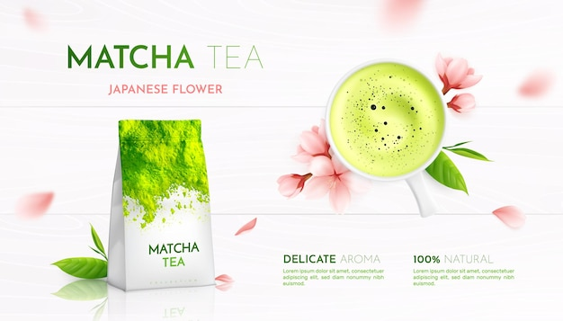 Matcha tea advertising realistic composition of flowers leaves and tea cup illustration