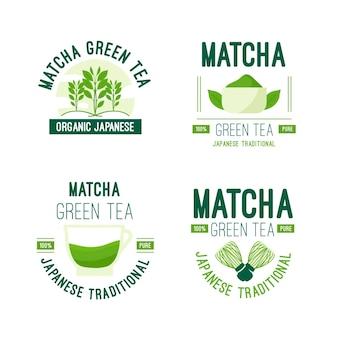 Matcha tea badge collection concept