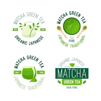 Matcha tea badge collection design