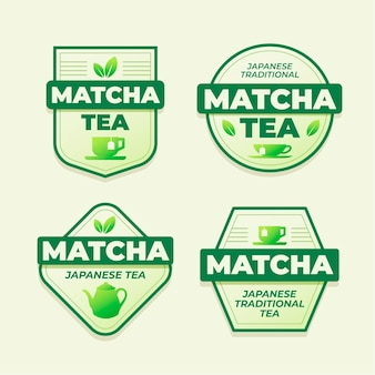 Matcha tea badges concept