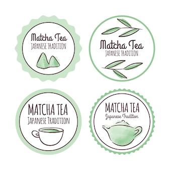 Matcha tea badges concept