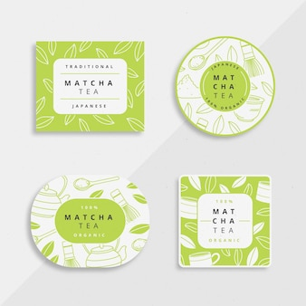 Matcha tea badges illustration collection