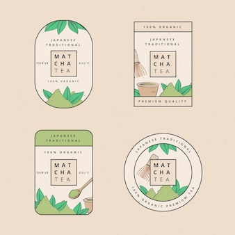 Matcha tea badges illustration set