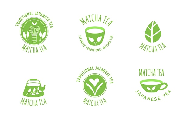 Matcha tea badges pack