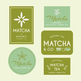 Matcha tea badges set