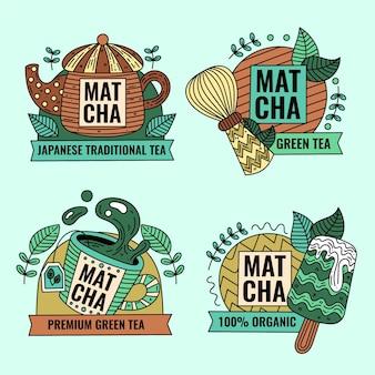 Matcha tea badges set