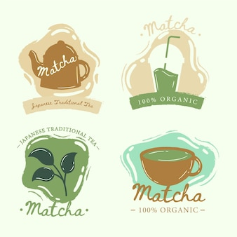 Matcha tea badges style collection