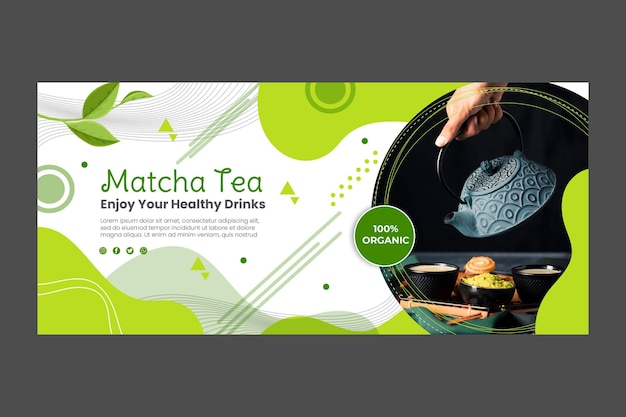 Matcha tea banner template design