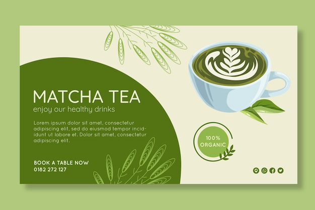 Matcha tea banner template