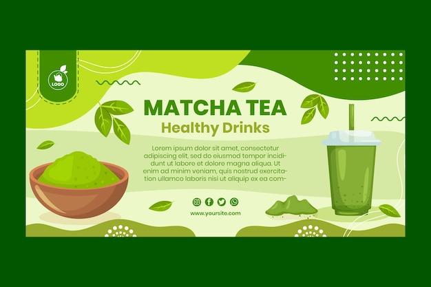 Matcha tea banner template