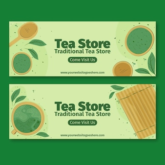 Matcha tea banners set