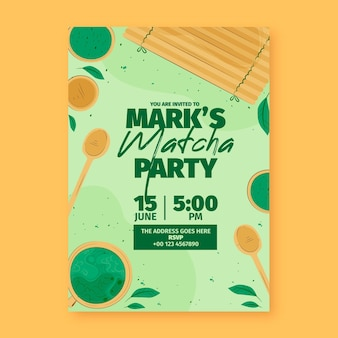 Matcha tea birthday invitation template