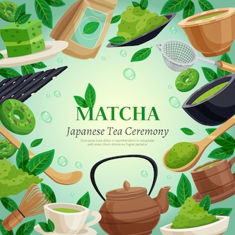 Matcha tea ceremony background template