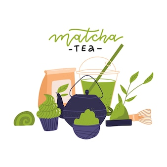 Matcha tea ceremony elements  side view japanese green tea ceremony matcha latte or tea beverages teapot and matcha powder preparation tools vector illustration