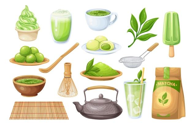 Matcha tea ceremony icons set