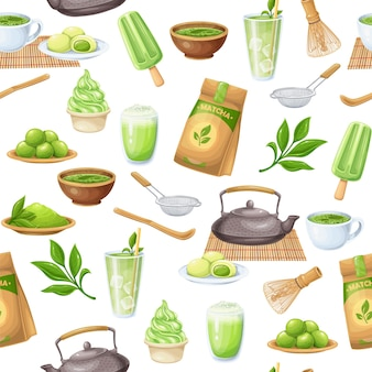 Matcha tea ceremony seamless pattern, vector illustration. background with japanese traditional matcha powder green tea, whisk, bamboo spoon, green candy truffles, latte, tea sprig with leaves and ets