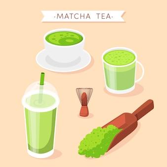 Matcha tea collection concept