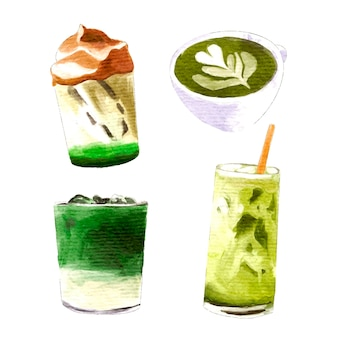Matcha tea collection concept
