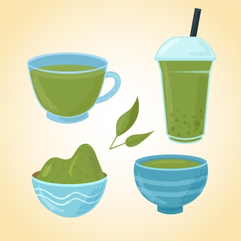 Matcha tea collection with herb