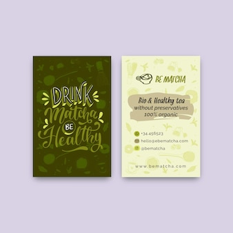Matcha tea double-sided business card template