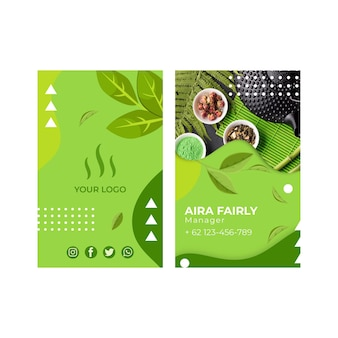 Matcha tea double-sided vertical business card template