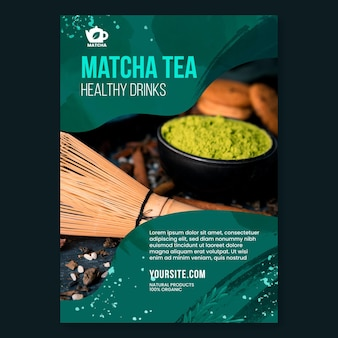 Matcha tea flyer template with photo