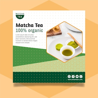 Matcha tea flyer template