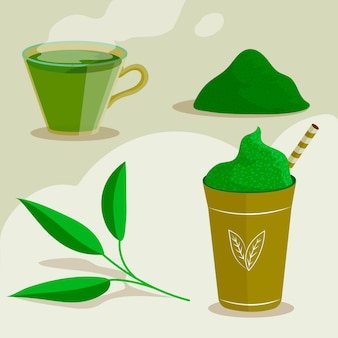 Matcha tea and herbs set