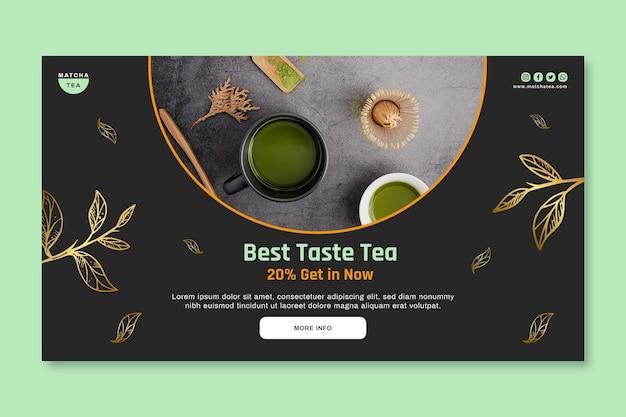 Modello di banner orizzontale di tè matcha