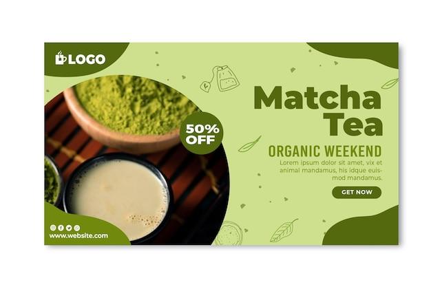 Matcha tea horizontal banner template