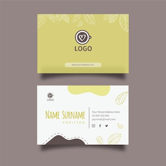 Matcha tea horizontal business card template