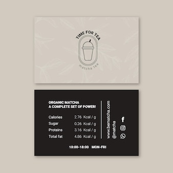 Matcha tea horizontal business card
