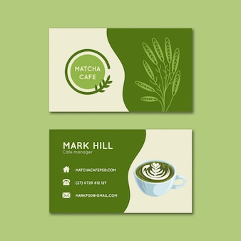 Matcha tea horizontal business cards template set
