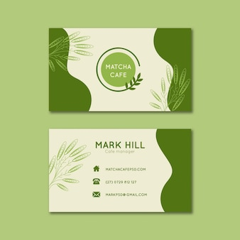 Matcha tea horizontal business cards template