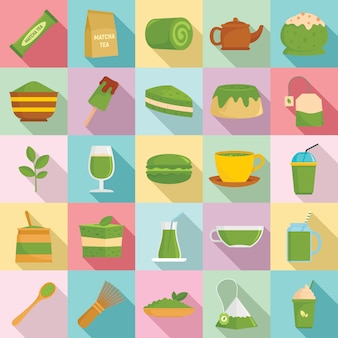 Matcha tea icons set, flat style