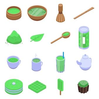 Matcha tea icons set