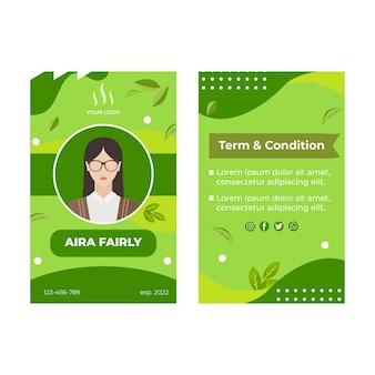 Matcha tea id card template